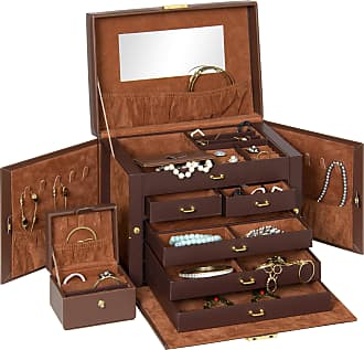 Best Choice Products Leather Box Organizer Storage With Mini Travel Case (Brown) - Brown