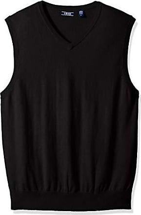 Izod Mens Premium Essentials Solid V-Neck 12 Gauge Sweater Vest, New Black, Medium