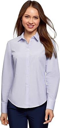 oodji Womens Basic Cotton Shirt, Blue, UK 14 / EU 44 / XL