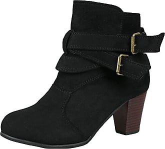 junkai Women Vintage Style Suede Martin Boots Mid Heel Solid Color Buckle Slouch Western Boots of Feet Ankle Boots Black