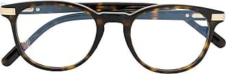 Cartier Armação de óculos redonda Havana com efeito tartaruga - Marrom