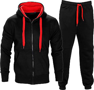 Noroze Mens Contrast String Hoodie Top Bottoms Tracksuit Black/Red XXL (16)