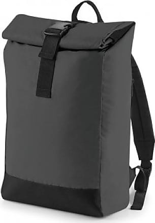BagBase Reflective Roll Top Backpack (One Size, Black Reflective)