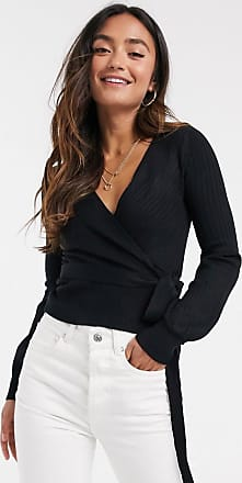 Urban Bliss wrap ribbed cardigan in black