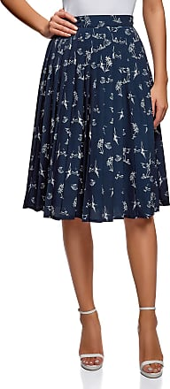 oodji Collection Womens Pleated Midi Skirt, Blue, UK 16 / EU 46 / XXL