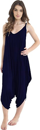 ZEE FASHION Ladies Womens Plain Ali Baba Harem Suit Cami Strappy Lagenlook Dress Oversized All in One Jumpsuit Navy