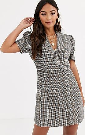 In The Style short sleeve check blazer dress-Multi