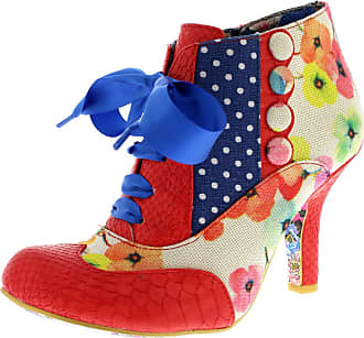 Irregular Choice Womens Blair Elfglow Mid Heels Floral Court Shoes - Red/Natural/Blue - 5
