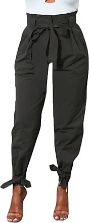 TOMWELL Womens Casual High Waist Trouser With Pocket Chiffon Harem Pencil Cargo Jogger Pants With Belt Black EU Large