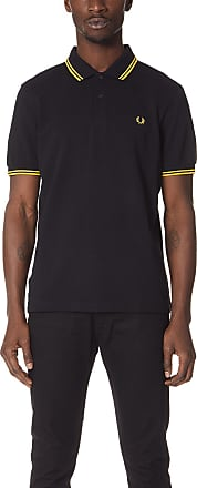 Fred Perry Mens Twin Tipped Polo Shirt, Black/Bright Yellow, XS