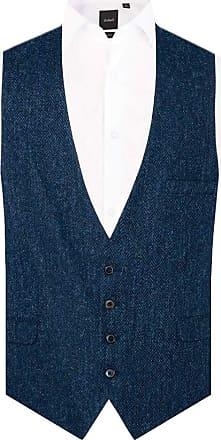 Dobell Scottish Harris Tweed Mens Blue/Black Herringbone Tweed Waistcoat Regular Fit 100% Wool Low Cut-XL (46-48in)