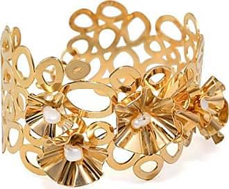 Tinna Jewelry Pulseira Dourada Bracelete Paetês E Pérola