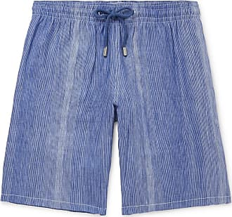 Vilebrequin Bolide Striped Linen And Cotton-blend Drawstring Shorts - Blue