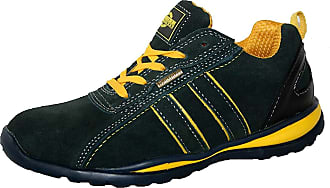 Northwest Territory MENS HOLMAN SAFETY STEEL TOECAP LIGHTWEIGHT LACE UP WORK SHOE TRAINER NAVY YELLOW 10