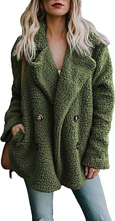 Yidarton Womens Winter Teddy Bear Coat Ladies Fuzzy Fleece Lapel Long Sleeve Outwear Jacket Cardigan (Green, XX-Large)