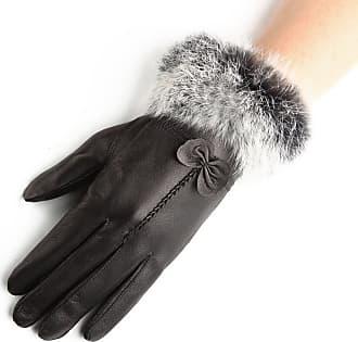 Insun Womens Genuine Sheepskin Leather Gloves Bowknot Winter Gloves Warm Black