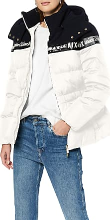 A X Armani Exchange Womens Real Down Double Colour Bomber Jacket, Off-White (Martini 1107), Small