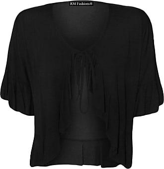 Islander Fashions Womens Plus Size Frill Tie Bolero Shrug Cardigan - Black - UK 22-24