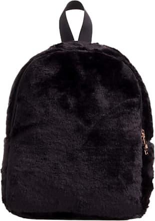Girly HandBags Girly HandBags Womens Plain Fur Backpack - Black