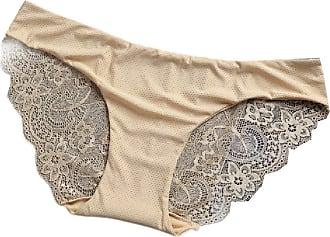Abetteric Calcinha feminina Abetteric de renda macia, sem aro, de algodão, cintura baixa, pacote com 3, 6, US X-S=China S