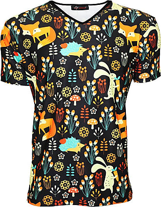 Insanity Fox, Rabbit and Hedgehog Animal Nature All Over Printed V-Neck T-Shirt (M) Black