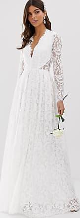 Asos Elegantes Hochzeitskleid aus Spitze mit V-Ausschnitt-Weiß
