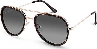 Vivara Óculos de Sol Aviador em Aço Dourado e Acetato Tartaruga