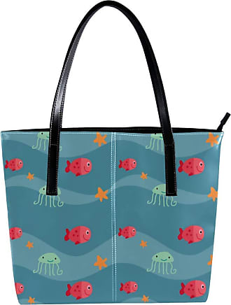 Nananma Womens Bag Shoulder Tote handbag with Colored Sea Animals Jellyfish Print Zipper Purse PU Leather Top-handle Zip Bags