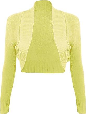 Momo & Ayat Fashions Ladies Girls Knitted Bolero Plain Ribbed Collar Shrug UK Size 8-14 (S/M (UK 8-10), Yellow)