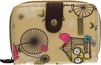 Swankyswans Pembleton Owl Bicycle Animal Print Bi-fold Wallet Beige Yellow