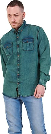 JD Williams Mens Regular Denim Shirt Cotton Enzyme Powder Wash Flap Pocket Casual Top M-XXL Sea Green