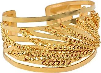 Tinna Jewelry Pulseira Dourada Bracelete Ondas E Corrente