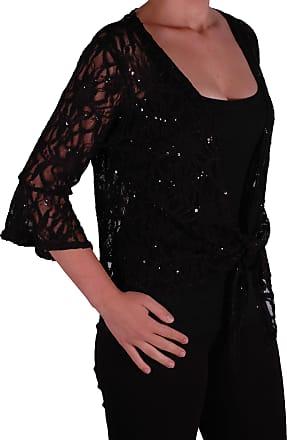 Eyecatch Oversize 12-26 - Darcey Ladies Sequin Cardi Tie Shrug Lace Bolero Top Womens Plus Size Black 16-18