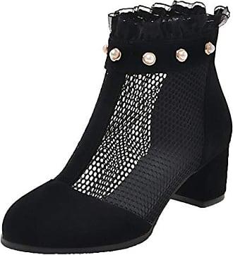 67d9f4b62b7517 Aiyoumei Damen Sommer Stiefeletten Blockabsatz 5cm Chunky Heels Ankle Boots  mit Perlen Sommerschuhe Schwarz 38.5 EU