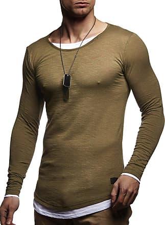 LEIF NELSON Mens Sweater Long Sleeve Crew Neck Sweatshirt LN-8171 Khaki Medium