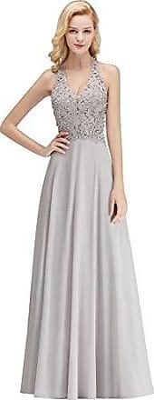 1ff1400d28609c MisShow Damen Elegant V-Ausschnitt Abendkleid für Hochzeit Chiffon Kleid  Applique Rückenfrei Lang Grau 40