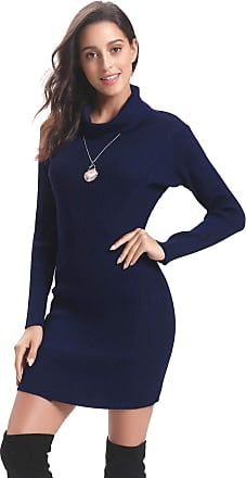 Aibrou Women Turtle Neck Jumper Dress,Long Sleeve Soft Warm Vintage Knit Stretchable Elasticity Slim Fit Sweater Body Con One Piece Dress(Navy XXL)