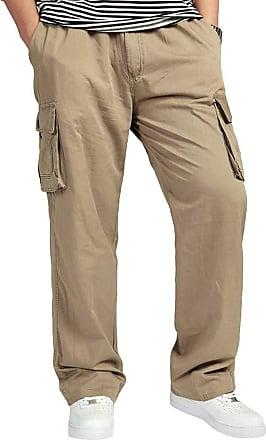 junkai Men Cargo Combat Side Elasticated Work Trousers with Pocket Work Long Bottoms Yellow 5XL