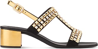 Giuseppe Zanotti 40 mm black and gold sandal with crystals and studs DEBRA