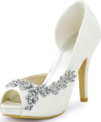 Elegantpark HP1560IAC Platform Wedding Shoes for Bride High Heels Women Bridal Shoes Peep Toe Rhinestones Satin Wedding Party Dress Court Shoes Ivory UK 7(EU 40)