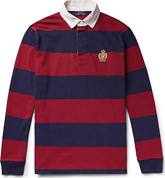 Polo Ralph Lauren Logo-embroidered Twill-trimmed Striped Cotton-jersey Rugby Shirt - Red