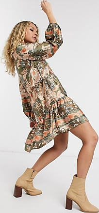 Object tiered smock dress in paisley print-Multi