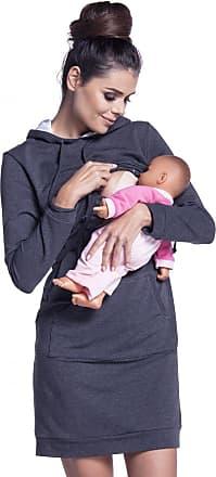 Zeta Ville Zeta Ville - Womens Maternity Nursing Sweat Dress Hood - Long Sleeves - 208c (Graphite Melange, UK 16/18, 2XL)
