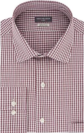 Van Heusen Mens Regular Fit Flex Collar Check Dress Shirt, Port, 15.5 Neck 32-33 Sleeve