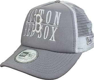 626c0f69a35 New Era Boston Red Sox 9Forty Adjustable Trucker Cap Word Stack in grey  white
