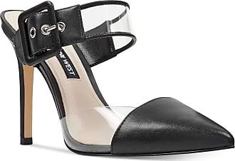 Nine West Nine West Womens Teagan Leather Pointed Toe Ankle Strap Mules, Black, Size 8.0 U US