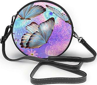 Turfed Flowers Colorful Butterfly Print Fashion Round PU Crossbody Handbag Round Shoulder Bag For Women Girls