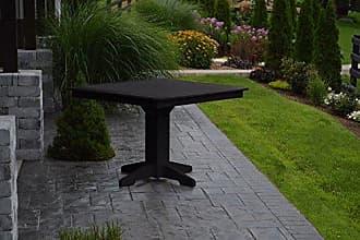 A & L Furniture A & L Furniture Square Dining Table with 2 Umbrella Hole, Black