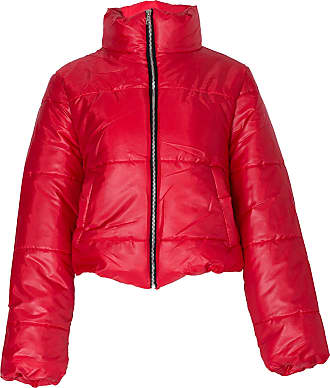 Noroze Womens Crop Jacket Padded Puffer Coat Cropped (Red, 14)