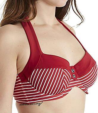 fbf3121735 Panache Panache Womens Britt Stripe Halter Underwire Bra-Sized Swimsuit  Bikini Top, Red/